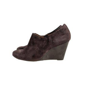Clarks Purity Frost Brown Suede Wedges Size 10